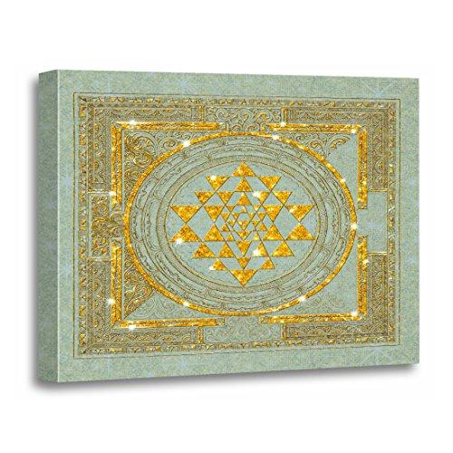 TORASS Canvas Wall Art Print Yoga Sri Yantra Meditation Chakras Spirituality India Artwork for Home Decor 12
