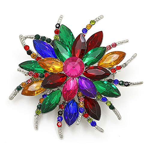 Flower Brooch Pin for Women Brides Created Crystal Brooch (Multicolored)