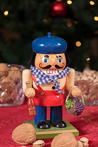 Traditional Wooden Chubby Italian Nutcracker by Clever Creations | Wine Bottle and Basket of Grapes | Festive Christmas Decor | 7'' Tall Perfect for Shelves and Tables by Clever Creations (Image #6)