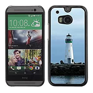 Slim Design Hard PC/Aluminum Shell Case Cover for HTC One M8 Lighthouse Lonely Lighthouse / JUSTGO PHONE PROTECTOR
