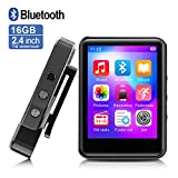 MP3Player, MP3 Player with Bluetooth, 16GB Portable Music Player with FM Radio/Recorder, HiFi Lossless Sound Quality, 2.4Inch Touch Screen Mini MP3 Player for Running, Expandable 128GB TF Card, Black
