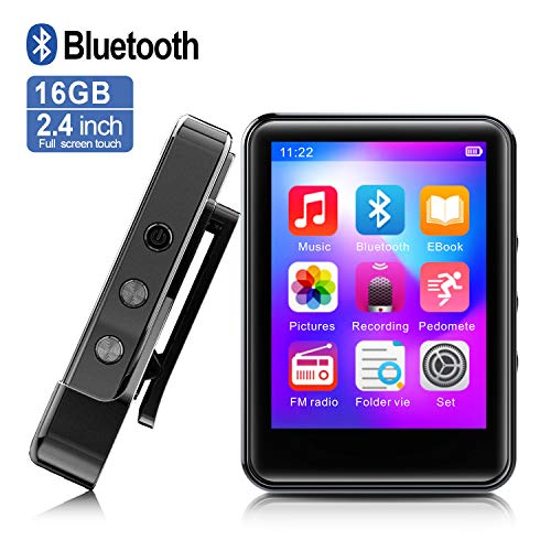 MP3Player, MP3 Player with Bluetooth, 16GB Portable Music Player with FM Radio/Recorder, HiFi Lossless Sound Quality, 2.4Inch Touch Screen Mini MP3 Player for Running, Expandable 128GB TF Card, Black (Best Android Portable Music Player)