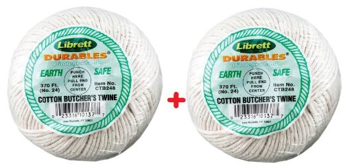 (Pack of 2) Cooking String / Butcher's Twine 100% Cotton (370 ft. Each Roll) *Great Quality*