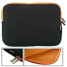 Emartbuy® Black / Orange Water Resistant Neoprene Soft Zip Case Cover Sleeve With Orange Interior & Zip Suitable for Venturer EliteWin 11.6 Inch 2-in-1 Tablet with Smart Keyboard ( 11.6 - 12.5 Inch Tablet Chromebook Laptop )