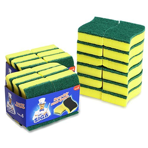 MR. SIGA Heavy Duty Scrub Sponge, 24 Count, Size:11 x 7 x 3c