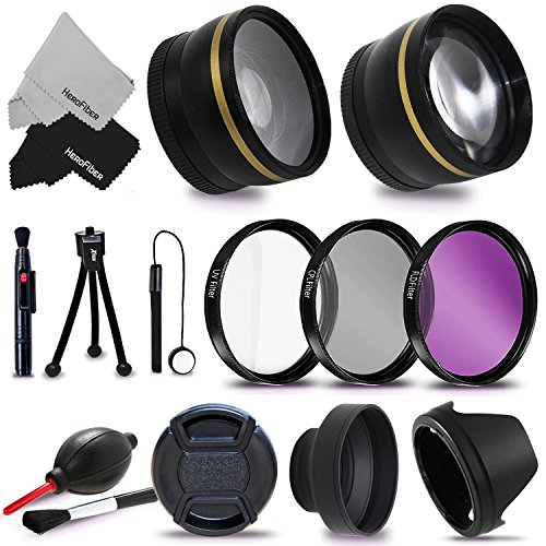 Essential 58mm Accessory Kit for CANON EOS REBEL T5i T4i T3i T2i T1i XTi XT SL1 XSi, EOS 700D 650D 600D 55D DSLR Cameras – Includes: High Definition Wide Angle Lens with Macro Closeup feature, + High Definition 2X Telephoto Lens + 3 Piece HD Filter Set + + Ring Adapters to from 46-62mm + 58mm Tulip shaped Hard Lens Hood + 58mm Soft Rubber Lens Hood + 58mm Lens Cap + Universal Card Reader + Mini Table Tripod + Memory Case Holder + Screen Protectors + Mini Blower + Cleaning Pen + Lens Cap Holder + Deluxe Cleaning Kit + Ultra Fine HeroFiber Cleaning Cloth
