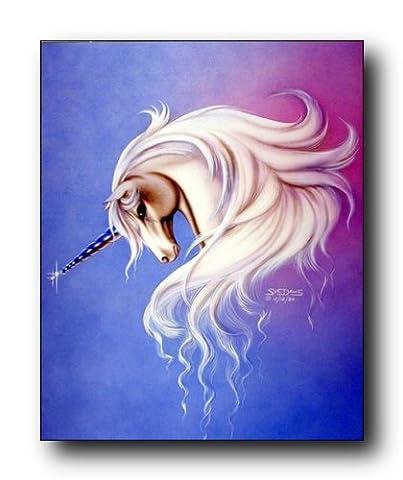 Mythical Lavender Mist Unicorn Sue Dawe Fantasy Home Decor Art Print Poster (16x20) - Crystal Unicorn