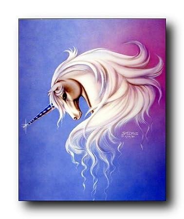 Mythical Lavender Mist Unicorn Sue Dawe Fantasy Home Decor Art Print Poster 16x20