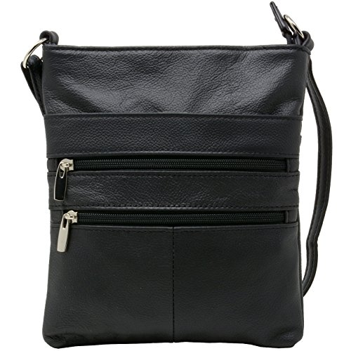 Handbag Genuine Black Purse Zippered Organizer Travel Leather Bag Purse Shoulder Mini qw1PI
