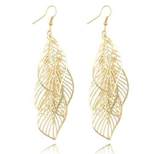 Statement Leaf Cluster Dangle Earrings for Women Girls-Gold Silver Gunmetal Colors (14k Gold)