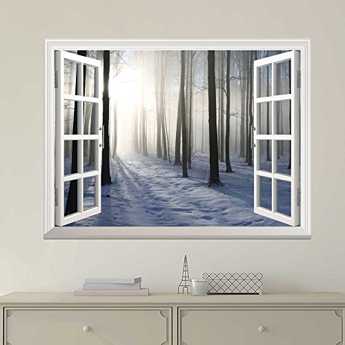 White Window Looking Out Into a Snowed Forest with the Sun Peeking Through Wall Mural