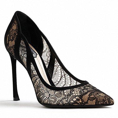 ZHANGYUSEN 2018 Nueva Puntilla Tacones Altos, la Compensación, la Chica Negra, Poco Frescas Bridesmaid Zapatos, Zapatos de Punta y Tacones Altos. Negro 7cm