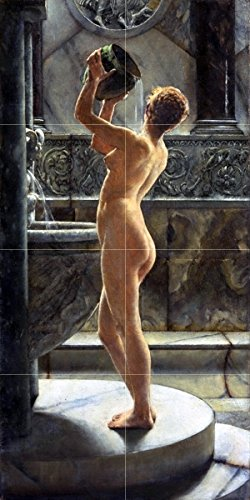 "People. The Bath by John Reinhard Weguelin Tile Mural Kitchen Bathroom Wall Backsplash Behind Stove Range Sink Splashback 2x4 4.25"" Ceramic, Glossy"