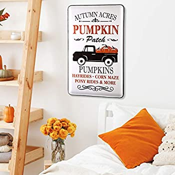 Glitzhome Fall Porch Sign Pumpkin Sign Metal Truck Fall Signs 23.6 Inches Height Rustic Thanksgiving Wall Decor Enameled Porch Sign Wall Sign for Harvest Decor Fall Decoration