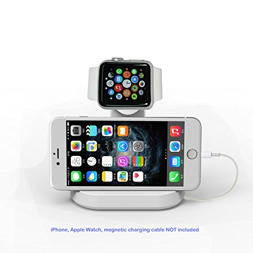 Apple iWatch,Nike +,Hermes watch and iPhone Stand,CyberTech 2 in 1 iWatch Stand Charging Station Dock cradle holder with Built-in Insert Slots for iPhone & Apple iWatch 38/42 mm 2015, iWatch 3 (White)