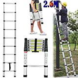 Telescopic Ladder Portable Multi Purpose Solid Aluminium Adjustable Ladders for Outdoor & Indoor Builder Extension Extendable Steps DIY Easy Carrying Ladder UK Local Fast Delivery (2.6M)
