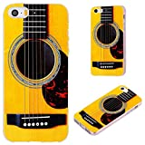 iPhone SE Case,iPhone 5S Case,iPhone 5 Case,VoMotec [Cute series] Anti-scratch Slim Flexible Soft TPU Protective Skin Cover Case For iPhone 5 5S SE,funny yellow Acoustic guitar