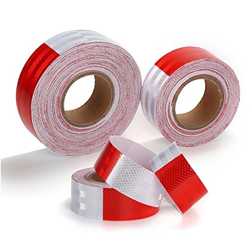 Knit Reflective Tape 2'' X30' Red White DOT-C2 High Intensity Grade - Conspicuity Safety Warning Tape for Cars Reflector Tape - 2 inch Waterproof Trailer Reflector Tape 1 Roll by Knit