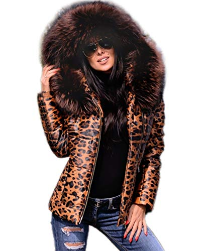 Aofur Womens Ladies Quilted Winter Coat Fur Collar Hooded Down Jacket Parka Outerwear (Large, Leopard)