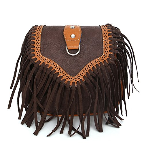 - Birthday Gifts for Women, Urmiss Vintage Bohemian Crossbody Bags Hippie Lace Up Hollow Handbag Flap Fringe Shoulder Bag Pouch Purse Tassel Messenger Hobo Bag