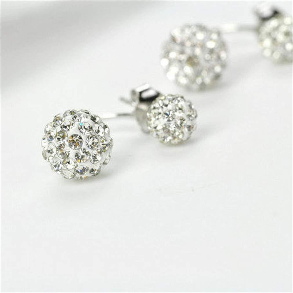 NIKOLay Double Ball Jacket Earrings Synthetic Crystal Shiny Rhinestones Elegant Engagement Wedding Disco Ball Earrings