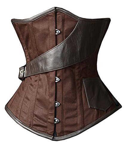 Camellias Womens Gothic Steampunk Steel Boned Underbust Waist Training Corset Lace Up Back,SZ1868-Brown-3XL