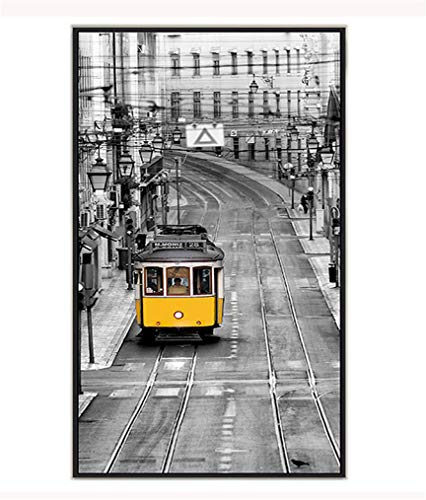 Cityscape Wall Bracket (Yellow And Gray Cityscape Wall Art - Iconic London Yellow Orbit Tram And Rail Train - Black And White Modern Canvas Print - Retro Urban Picture Mural Printing - Ready To Hang,C,11.8x23.6in)