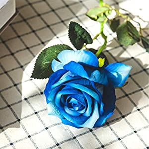 Louiesya Artificial Flowers Fake Flowers Bouquet Silk Roses Real Touch for Home Garden Party Floral Decor 6 Pcs Bridal Wedding Bouquet(Blue) 3