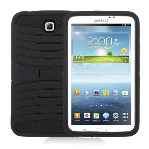 [Rhino] Black Heavy Duty rugged impact Hybrid Case with Build In Kickstand Protective Case For Samsung Tablet Galaxy (Tablet 3 Samsung Case)