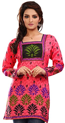 Indian Tunic Top Womens Kurti Printed Cotton Blouse India Clothes – S…Bust 34 inches, Pink