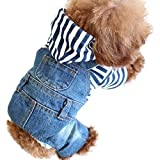 Cheap SILD Pet Denim Jumpsuit Dog Jeans Hoodies Cool Blue Coat Medium Small Dogs Classic Jacket Puppy Blue Vintage Washed Vests (XL)