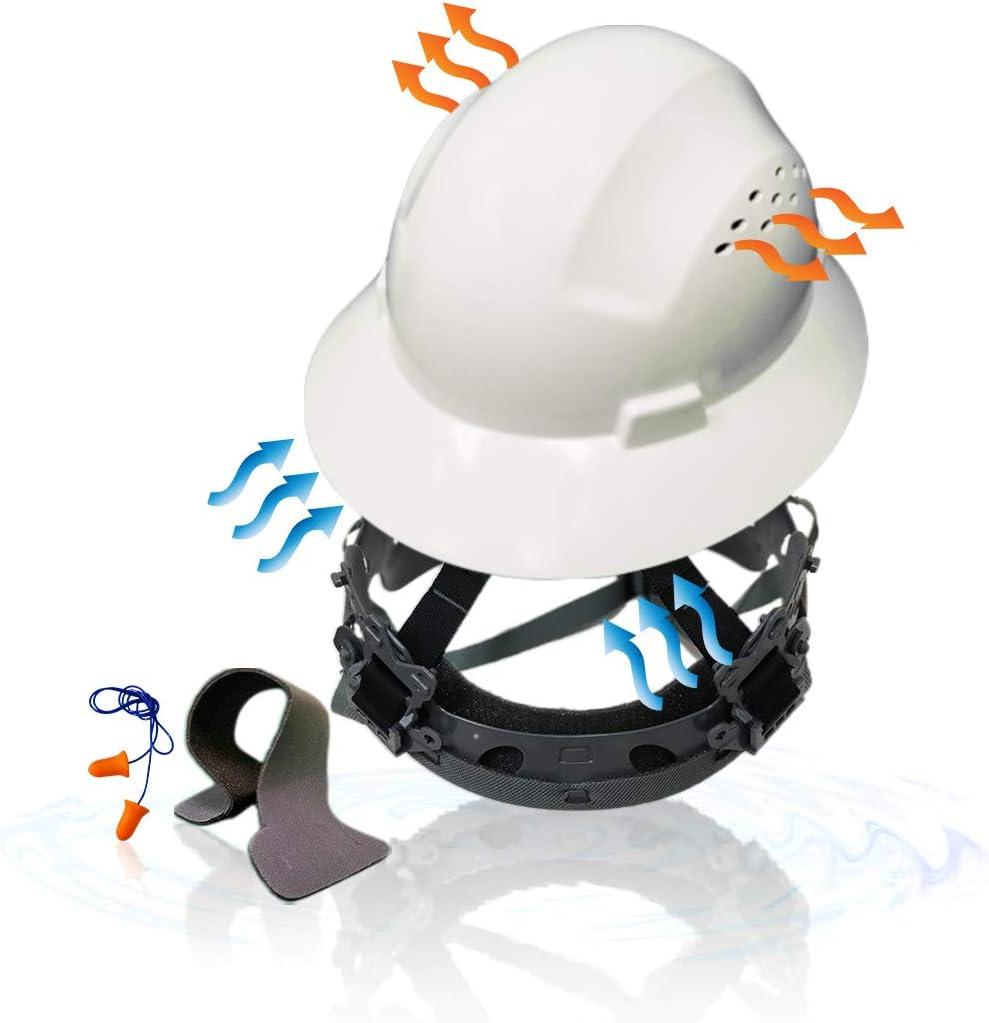 KwikSafety (Charlotte, NC) TORTOISE SHELL (18 Vents, FREE Extra Sweatband Earplugs) Full Brim (One Size FITS MOST) ANSI Hard Hat Construction Safety Helmet OSHA Lightweight Type 1 Class C White - -