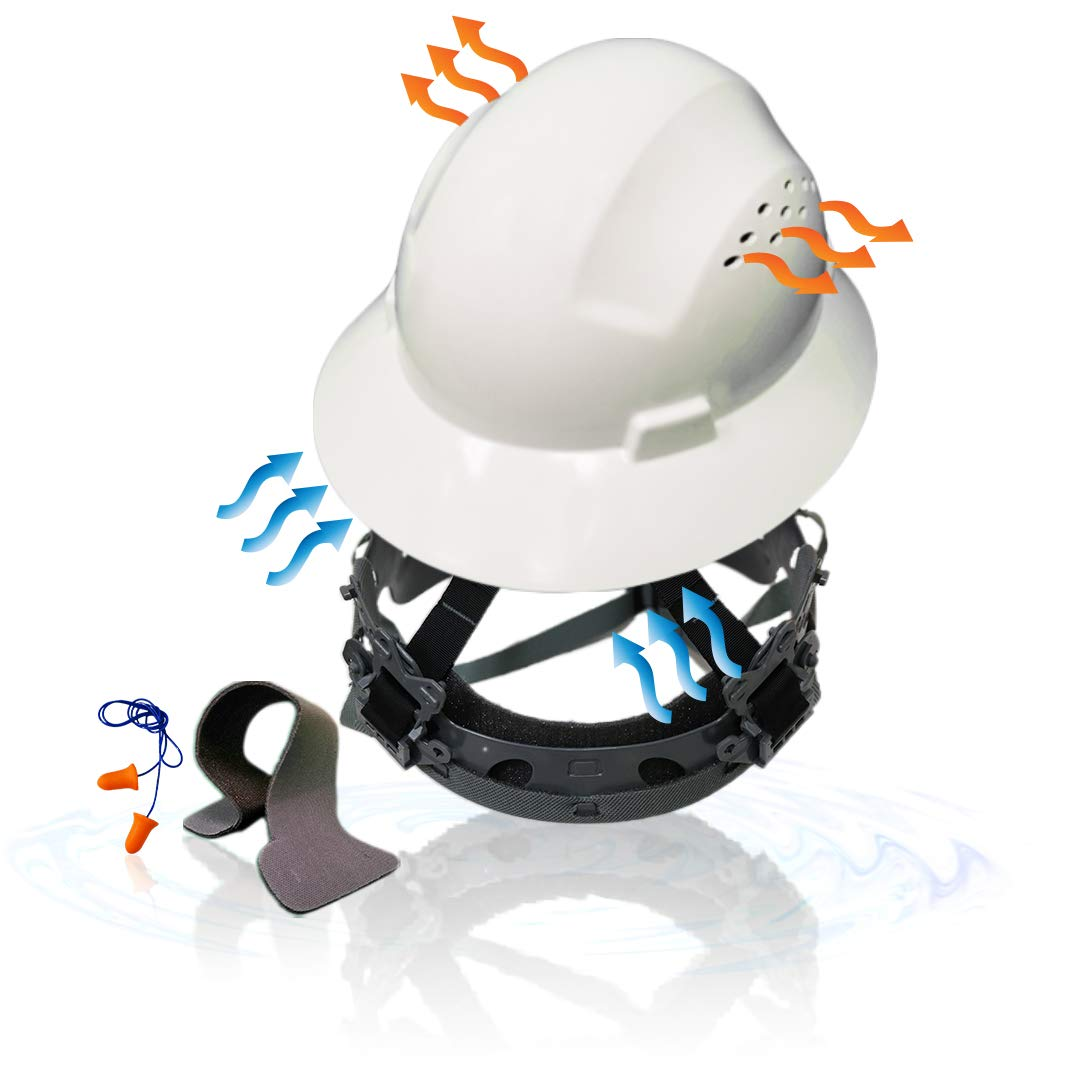 KwikSafety (Charlotte, NC) TORTOISE SHELL (18 Vents, FREE Extra Sweatband Earplugs) Full Brim (One Size FITS MOST) ANSI Hard Hat Construction Safety Helmet OSHA Lightweight Type 1 Class C White