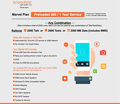 1 Year Prepaid Service GSM SIM Card - Rollover 2000 Minutes Talk Text Data by SpeedTalk Mobile (Image #1)