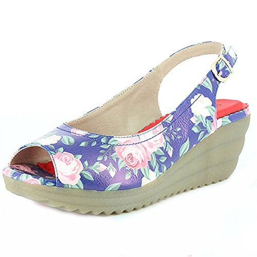 Heavenly Feet Chaussures Indy Floral Bleu Marine