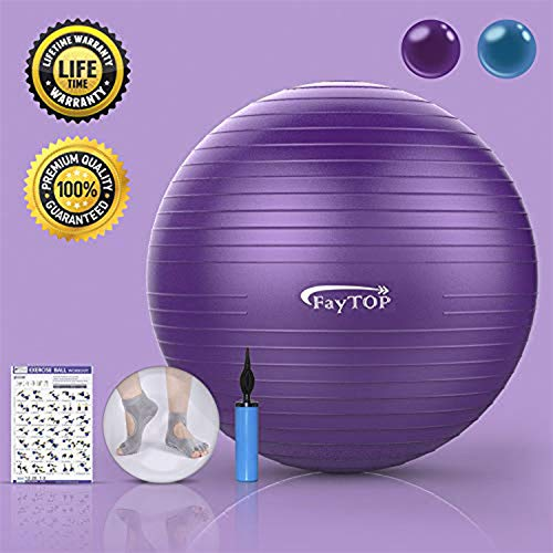 Exercise Ball for Yoga, Fitness, Workout, Balance, Pilates, Birthing, Therapy Balls - Non Slip & Anti-Burst & Extra Thick, Stability Office Ball Chair Supports 2200lbs (2019 Latest Upgrade 25 Inches)