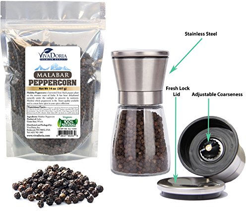 (Viva Doria Malabar Peppercorn, Whole Black Pepper, Black Peppercorns 12 oz + Premium Stainless Steel Salt & Pepper Grinder with Adjustable Coarseness)