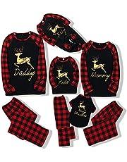 WeoTca Family Christmas Pajamas Set Matching Plaid Xmas Pjs Sleepwear Holiday Lounge Wear Nightwear for Pet Baby Kid Dad Mom