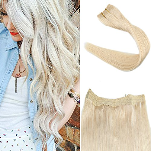Full Shine 20 inch Width 11 inch Fish Line Hair Extension 100g Fish Line Invisible 100% Fish Line Remy Human Hair Pieces Color #60 Light Blonde