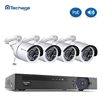 AUDIO CAMERA SYSTEMTechage 8CH 1080P POE NVR CCTV System With Audio Indoor Waterproof Home Security Surveillance Kit With 4PCS IP Camera With Mic, Without Hard Drive
