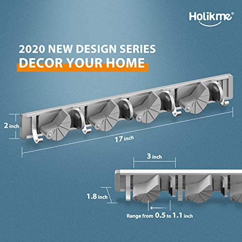 51 nHtKsyYL. AC Holikme Mop Broom Holder Wall Mount Metal Pantry Organization and Storage Garden Kitchen Tool Organizer Wall Hanger for Home Goods (4 Positions with 4 Hooks, Silver)    Product Description