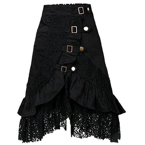 Taiduosheng Women's Steampunk Gothic Clothing Vintage Cotton Black Lace Skirts Large ()
