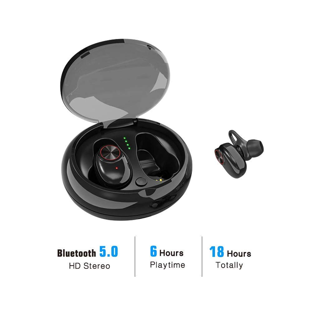 True Wireless Earbuds Bluetooth 5.0 Headphones HiFi Stereo Sound with Deep Bass Sweatproof in-Ear Earphones Built-in Mic Support Google Siri Voice Assistant,24 Hours Playtime with Charging Case