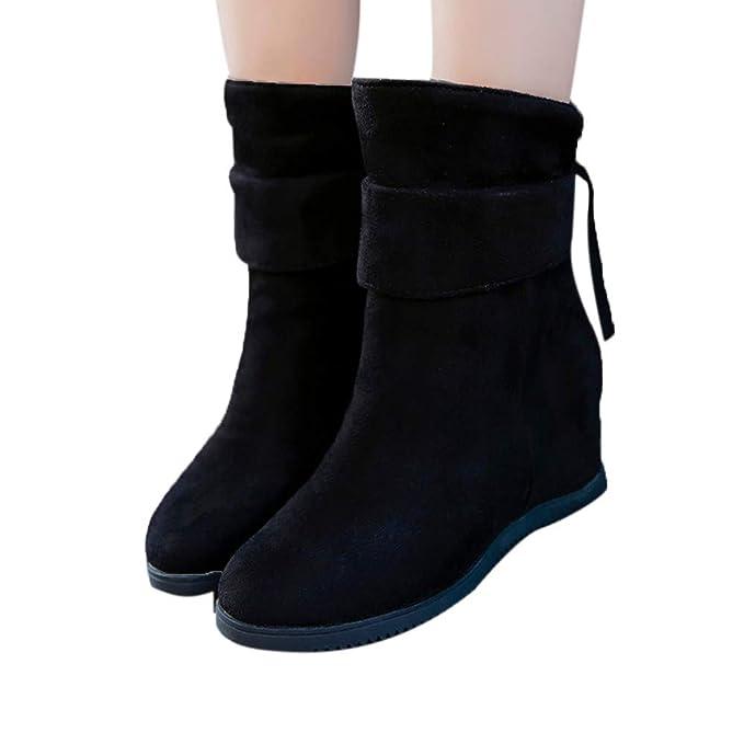 JiaMeng Botas de Agua Bota Mujer Lluvia Zapatos de Plataforma Botas de Plataforma de tacón bajo