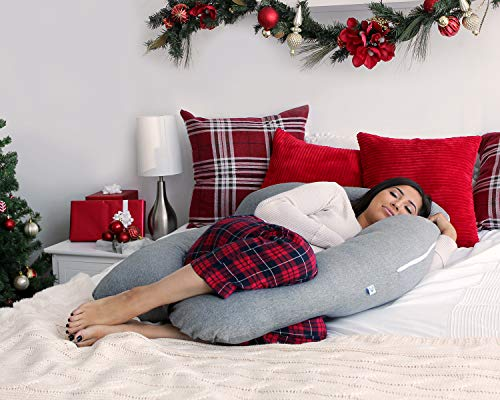 PharMeDoc Pregnancy Pillow, U-Shape Full Body Pillow and Maternity Support with Detachable Extension - Support for Back, Hips, Legs, Belly for Pregnant Women