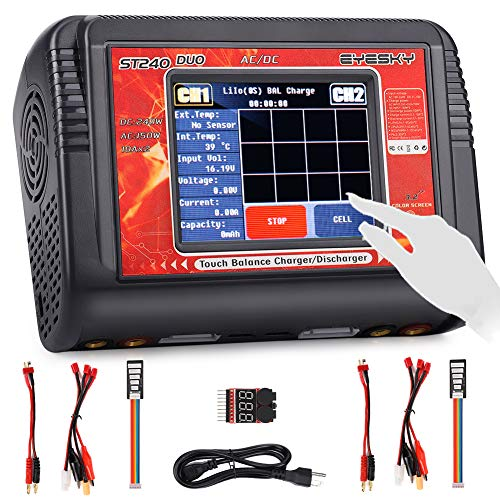 LiPo Charger Dual RC Battery Balance Charger Touch Screen Discharger Duo AC150w DC240W 10A ST240 for 1-6S Li-ion Life NiCd NiMH LiHV PB Smart ()