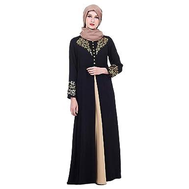 Meijunter Vestido de Mujer Musulmana - Traje con Estampado Dorado de Abaya Ropa Etnica Kaftan