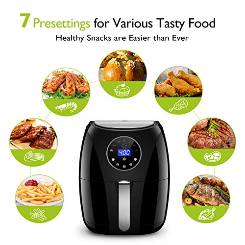 Habor Digital Air Fryer with LCD Touchscreen, Programmable 7-in-1 Air Fryer Oven, 3.7QT Mini Deep Air Fryer Cooker for Oilless Healthy Life, Detachable Dishwasher Safe Basket Recipes Included
