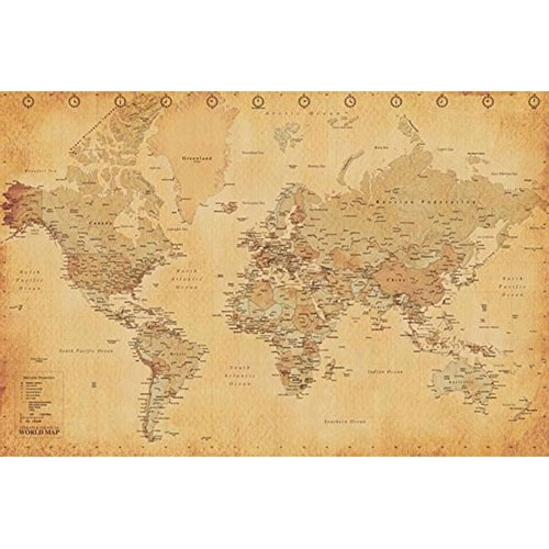Old Glory Antique World Map 24x36 Standard Wall Art Poster