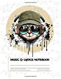 Music & Lyrics Notebook: Dual Lined Songwriting Paper & Standard 12-Staff Manuscript Sheets Journal For Kids Teens Adults: Large 8.5'x11' - 50 Sheets | 100 Pages - Cool Cat Headphones (Tan)